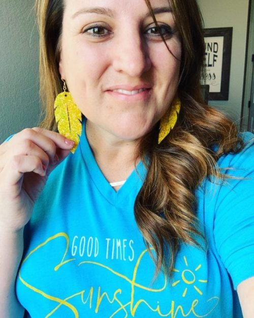 Yellow Feather Glitter Earrings