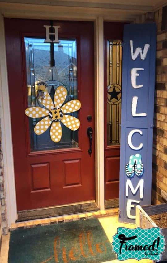 Blue DIY Welcome Porch Sign Framed by Sarah