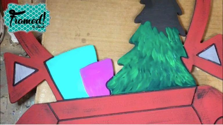 Painting tree Vintage Christmas Truck Door Hanger