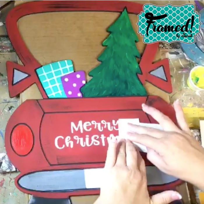 Decal on Vintage Christmas Truck Door Hanger