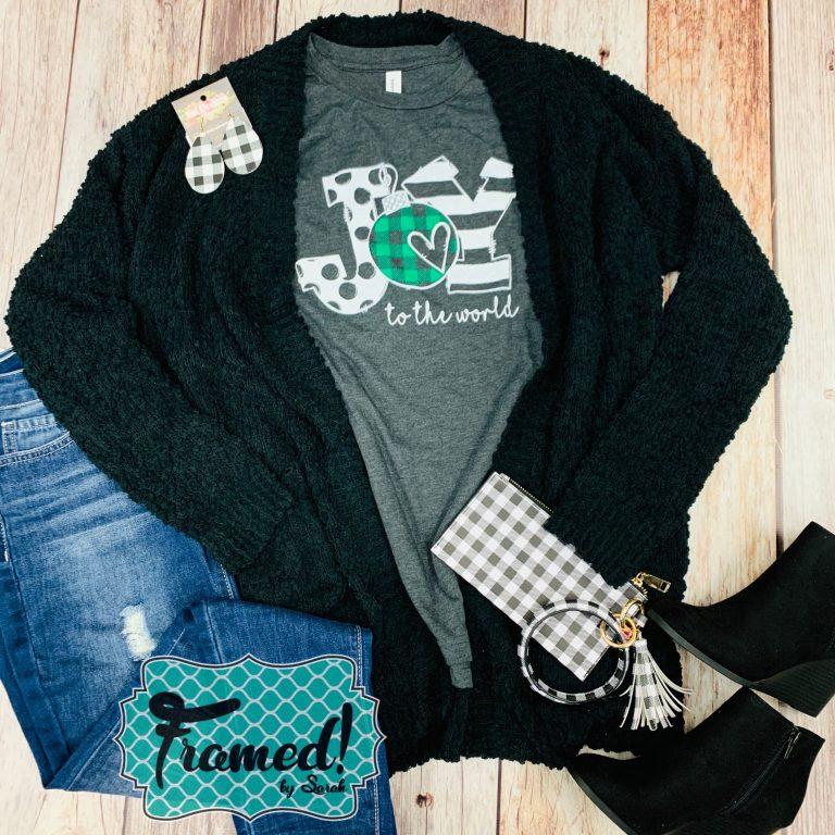 Black Cardi Joy to the World December T-Shirt Club Framed by Sarah