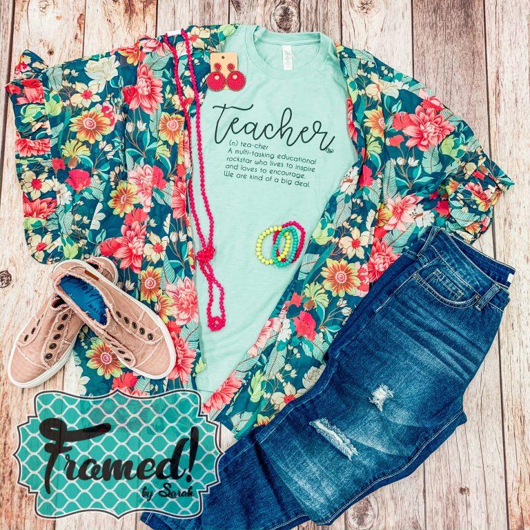 March Teacher Tee Outfit with Floral Kimono Framed by Sarah Tees 4 Teachers Subscription Box