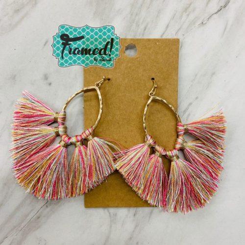 Gold & Pink Fringe Earrings