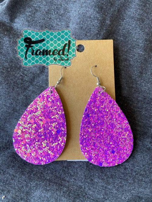 Fuschia Glitter Teardrop Earrings