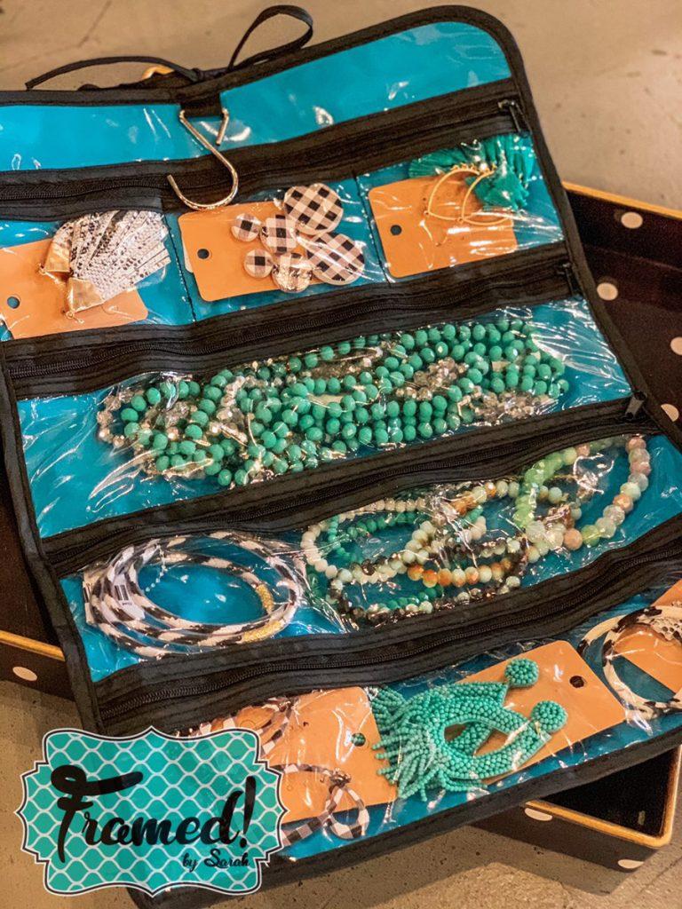 Beach Essentials Jewelry Roll Framed By Sarah