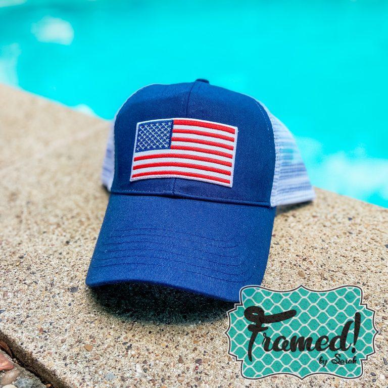 Patriotic Summer Subscription Box Framed Monogram Box Flag trucker hat