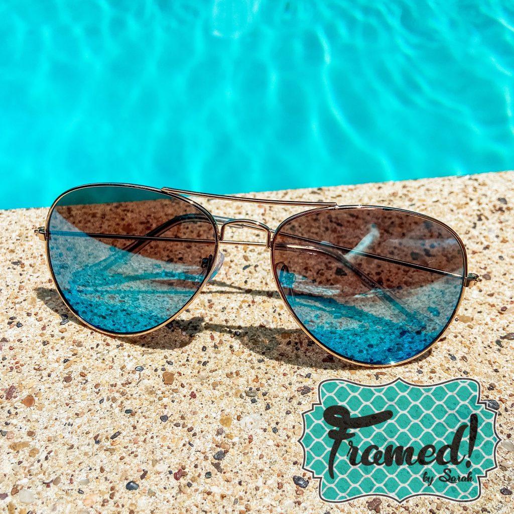 Blue sunglasses Patriotic Summer Subscription Box Framed Monogram Box