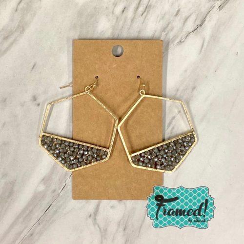Gray Beaded Hexagon Earrings