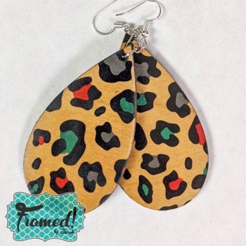 Wood Leopard Earrings
