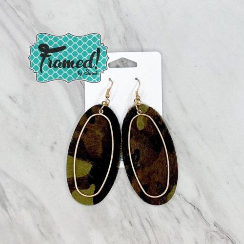 Camo & Gold Oval Earrings