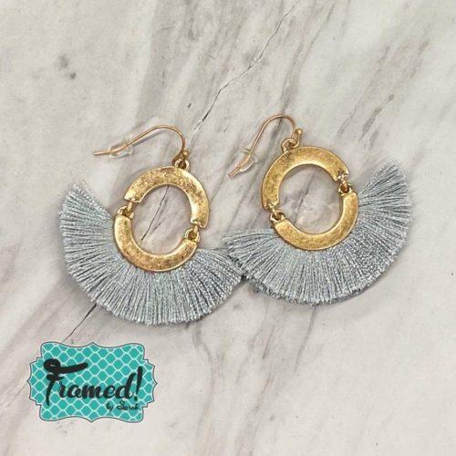 Gray & Gold Fringe Earrings