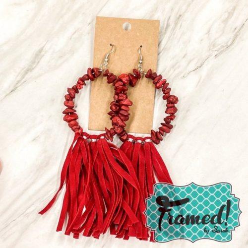 Maroon Bead & Leather Earrings
