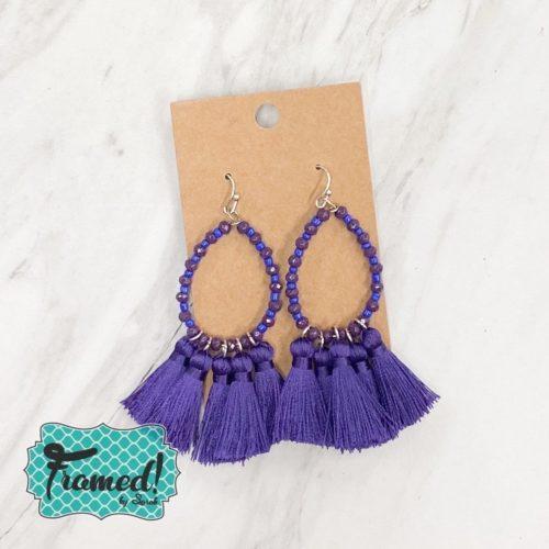 Purple & Blue Beaded Earrings