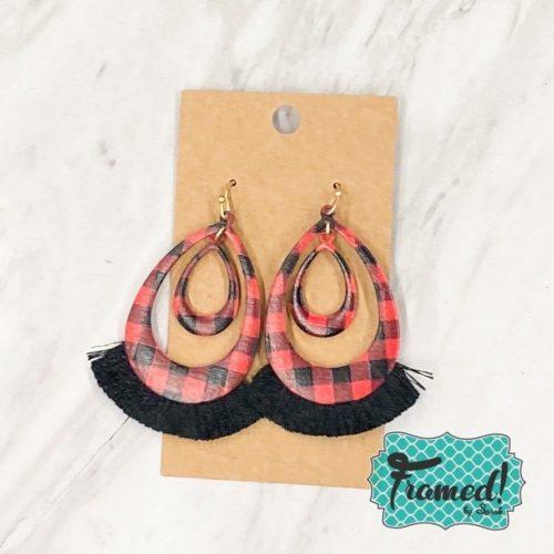 Red Buffalo Plaid Oval Earrings