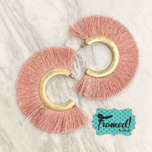 Blush Fringe Hoop Earrings