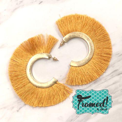 Mustard Fringe Hoop Earrings