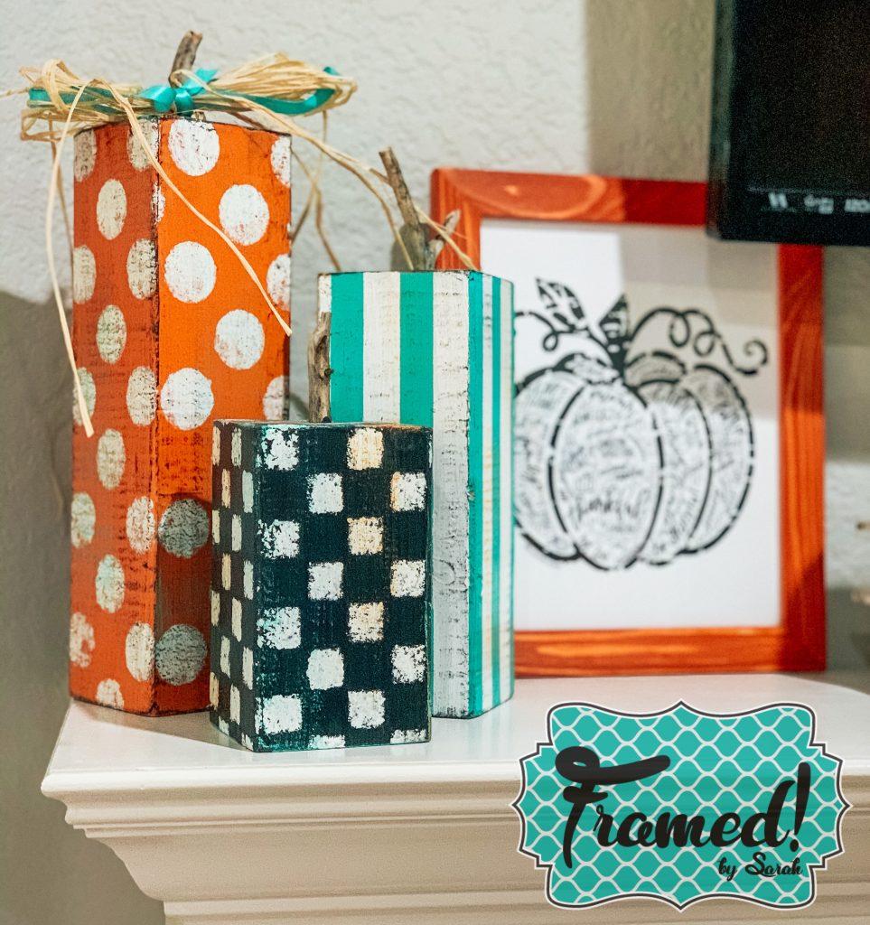 pumpkin block trio Decorate A Mantel with a TV