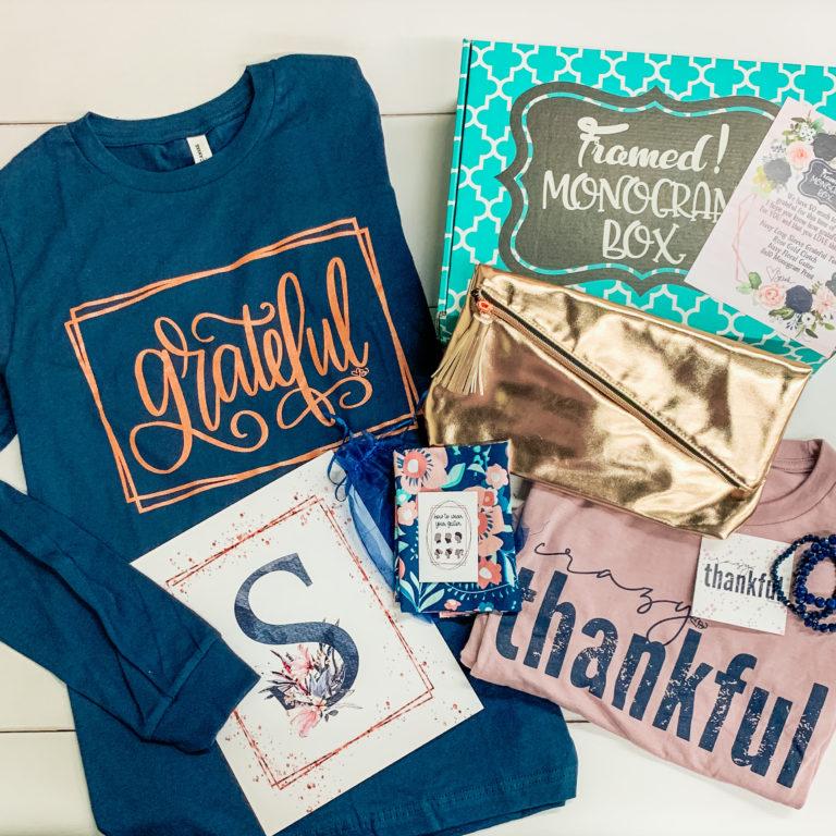 Thankful and Grateful November Monogram Box Framed by Sarah