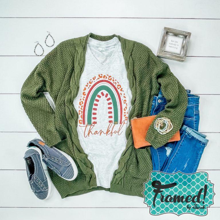 Cozy green cardigan with thankful fall tee