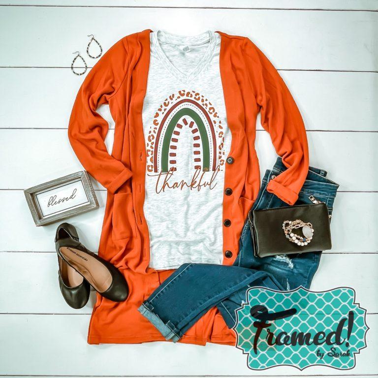 Bold orange duster cardigan with thankful fall tshirt club tee