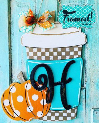 Pumpkin Coffee Door Hanger