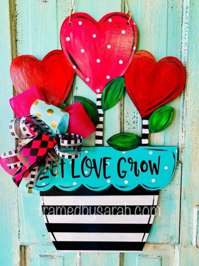 Flowers Valentine Door Hanger DIY Framed by Sarah